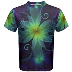 Blue And Green Fractal Flower Of A Stargazer Lily Men s Cotton Tee by jayaprime