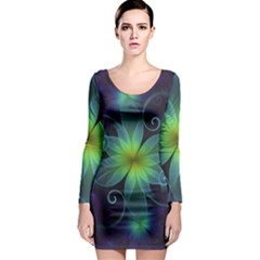 Blue And Green Fractal Flower Of A Stargazer Lily Long Sleeve Bodycon Dress by jayaprime