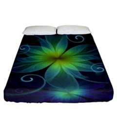 Blue And Green Fractal Flower Of A Stargazer Lily Fitted Sheet (king Size) by jayaprime