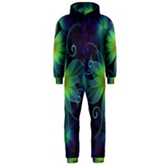 Blue And Green Fractal Flower Of A Stargazer Lily Hooded Jumpsuit (men)  by jayaprime