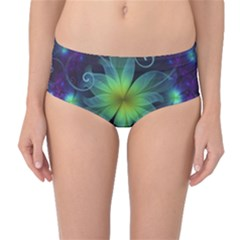 Blue And Green Fractal Flower Of A Stargazer Lily Mid-waist Bikini Bottoms by jayaprime
