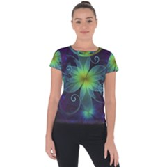 Blue And Green Fractal Flower Of A Stargazer Lily Short Sleeve Sports Top  by jayaprime