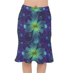Blue And Green Fractal Flower Of A Stargazer Lily Mermaid Skirt by jayaprime
