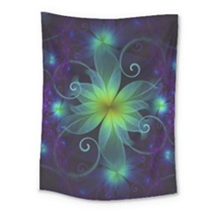Blue And Green Fractal Flower Of A Stargazer Lily Medium Tapestry by jayaprime