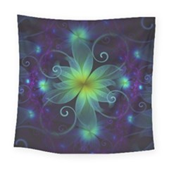 Blue And Green Fractal Flower Of A Stargazer Lily Square Tapestry (large) by jayaprime