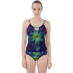 Blue And Green Fractal Flower Of A Stargazer Lily Cut Out Top Tankini Set by jayaprime