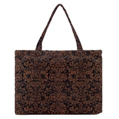 Damask2 Black Marble & Brown Wood Medium Zipper Tote Bag by trendistuff