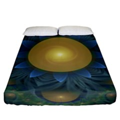 Beautiful Orange & Blue Fractal Sunflower Of Egypt Fitted Sheet (king Size) by jayaprime