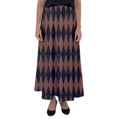 Diamond1 Black Marble & Brown Wood Flared Maxi Skirt