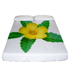 Yellow Flower With Leaves Photo Fitted Sheet (queen Size) by dflcprints