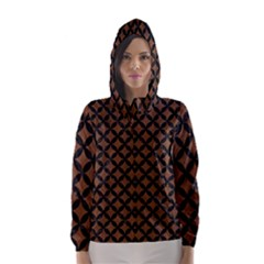 Circles3 Black Marble & Brown Wood (r) Hooded Wind Breaker (women) by trendistuff