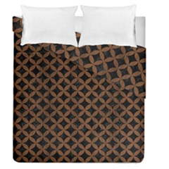 Circles3 Black Marble & Brown Wood Duvet Cover Double Side (queen Size) by trendistuff