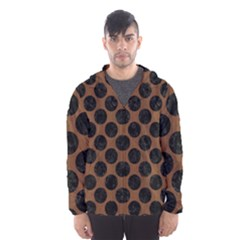 Circles2 Black Marble & Brown Wood (r) Hooded Wind Breaker (men) by trendistuff