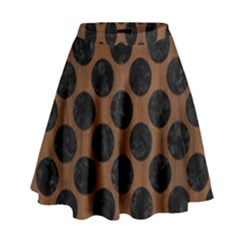 Circles2 Black Marble & Brown Wood (r) High Waist Skirt by trendistuff