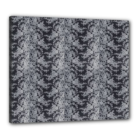 Black Floral Lace Pattern Canvas 24  X 20