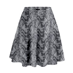Black Floral Lace Pattern High Waist Skirt