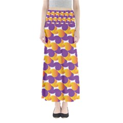 Purple And Yellow Abstract Pattern Full Length Maxi Skirt