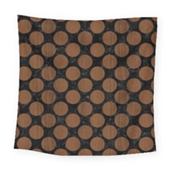 Circles2 Black Marble & Brown Wood Square Tapestry (large) by trendistuff