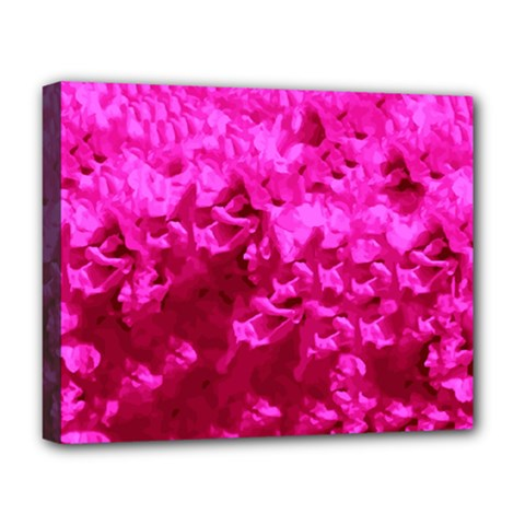 Hot Pink Floral Pattern Deluxe Canvas 20  X 16   by paulaoliveiradesign