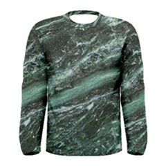 Green Marble Stone Texture Emerald  Men s Long Sleeve Tee by paulaoliveiradesign