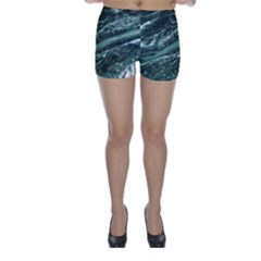 Green Marble Stone Texture Emerald  Skinny Shorts by paulaoliveiradesign