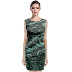 Green Marble Stone Texture Emerald  Sleeveless Velvet Midi Dress by paulaoliveiradesign