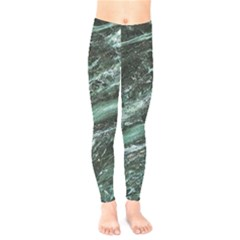 Green Marble Stone Texture Emerald  Kids  Legging by paulaoliveiradesign