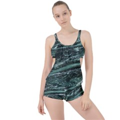 Green Marble Stone Texture Emerald  Boyleg Tankini Set  by paulaoliveiradesign