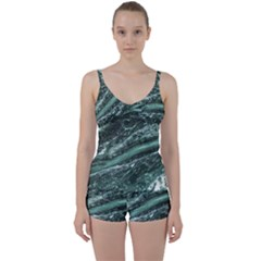 Green Marble Stone Texture Emerald  Tie Front Two Piece Tankini