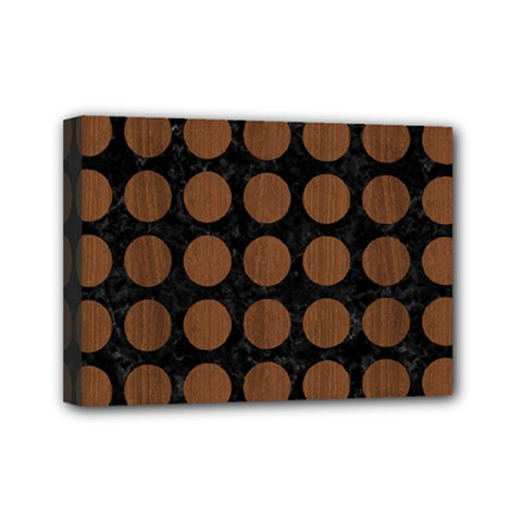 Circles1 Black Marble & Brown Wood Mini Canvas 7  X 5  (stretched) by trendistuff