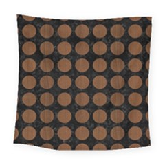 Circles1 Black Marble & Brown Wood Square Tapestry (large) by trendistuff