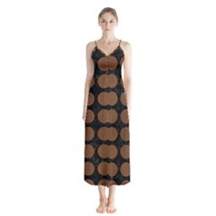 Circles1 Black Marble & Brown Wood Button Up Chiffon Maxi Dress