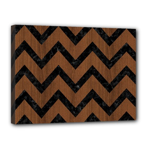 Chevron9 Black Marble & Brown Wood (r) Canvas 16  X 12  (stretched) by trendistuff
