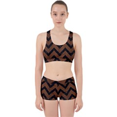 Chevron9 Black Marble & Brown Wood (r) Work It Out Sports Bra Set