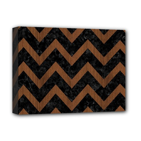 Chevron9 Black Marble & Brown Wood Deluxe Canvas 16  X 12  (stretched)  by trendistuff
