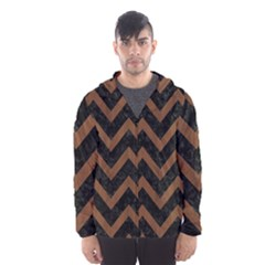 Chevron9 Black Marble & Brown Wood Hooded Wind Breaker (men) by trendistuff