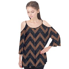 Chevron9 Black Marble & Brown Wood Flutter Sleeve Tee  by trendistuff
