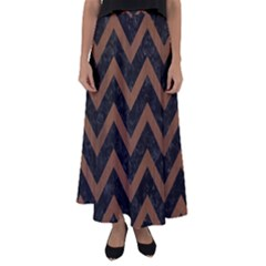 Chevron9 Black Marble & Brown Wood Flared Maxi Skirt by trendistuff