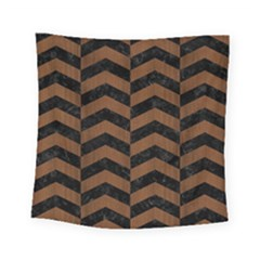 Chevron2 Black Marble & Brown Wood Square Tapestry (small) by trendistuff