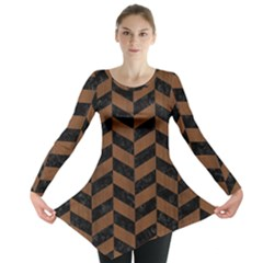 Chevron1 Black Marble & Brown Wood Long Sleeve Tunic