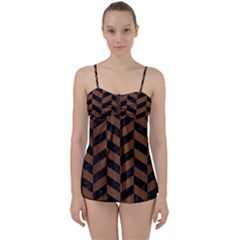 Chevron1 Black Marble & Brown Wood Babydoll Tankini Set by trendistuff