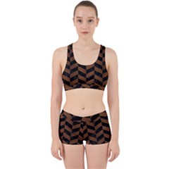 Chevron1 Black Marble & Brown Wood Work It Out Sports Bra Set by trendistuff