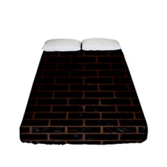 Brick1 Black Marble & Brown Wood Fitted Sheet (full/ Double Size) by trendistuff