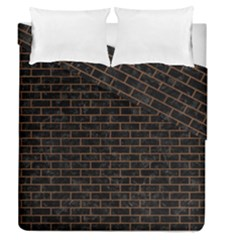 Brick1 Black Marble & Brown Wood Duvet Cover Double Side (queen Size) by trendistuff