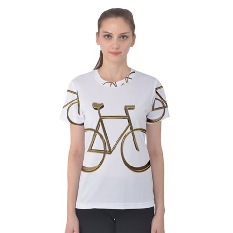 Elegant Gold Look Bicycle Cycling  Women s Cotton Tee by yoursparklingshop