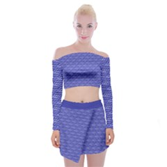 Blue Scales Off Shoulder Top With Skirt Set by Brini
