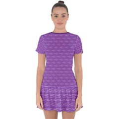 Purple Scales Drop Hem Mini Chiffon Dress by Brini