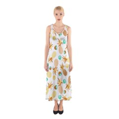 Seamless Summer Fruits Pattern Sleeveless Maxi Dress