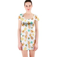 Seamless Summer Fruits Pattern Short Sleeve Bodycon Dress by TastefulDesigns