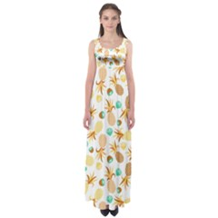 Seamless Summer Fruits Pattern Empire Waist Maxi Dress